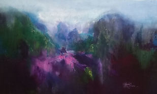 Temple in the mountains by Dnyaneshwar Dhavale , Illustration Painting, Acrylic on Canvas, Gray color
