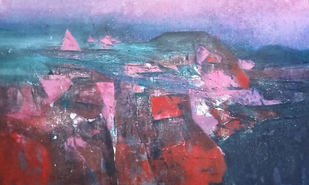 The part of nature by Dnyaneshwar Dhavale , Abstract Painting, Acrylic on Canvas, Gray color