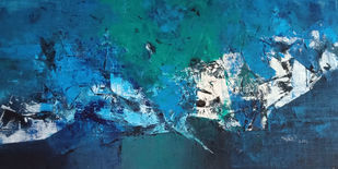 Deep down by Dnyaneshwar Dhavale , Abstract Painting, Acrylic on Canvas, Teal color