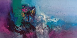 Magical Purple by Dnyaneshwar Dhavale , Abstract Painting, Acrylic on Canvas, Gray color