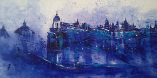 Heritage by Dnyaneshwar Dhavale , Abstract Painting, Acrylic on Canvas, Navy color