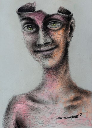 Just a Wrapper by Swaroop Biswas, Expressionism Painting, Watercolor and charcoal on paper, Silver color