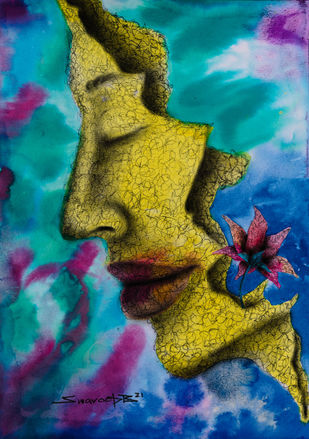 Alive by Swaroop Biswas, Expressionism Painting, Watercolor and charcoal on paper, Teal color