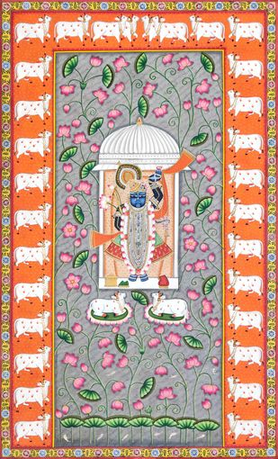Shreenathji in Lotus by Unknown Artist, Folk Painting, Stone Colour on Cloth, Silver color