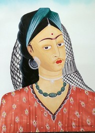 Kali-Kahlo with a veil by Bhaskar Chitrakar, Folk Painting, Natural colours on paper, Silver color