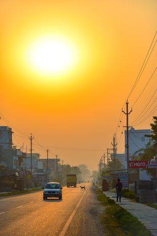Sunrise by Arif Amin, Digital Photography, Digital Print on Paper, Orange color