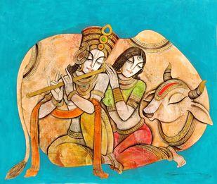 Madhur Madhav by Mukesh Mandal, Illustration Painting, Acrylic on Canvas, Orange color