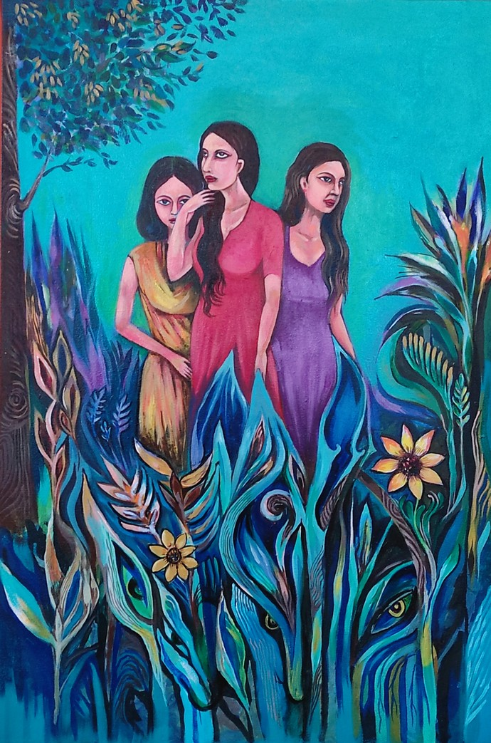 Three women by A B PANDEY, Illustration Painting, Acrylic on Canvas, Gray color