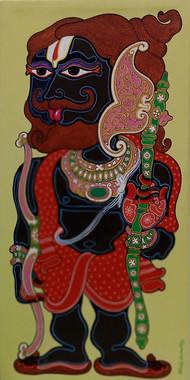 Parashurama by Devendra Achari, Expressionism Painting, Acrylic on Canvas, Orange color