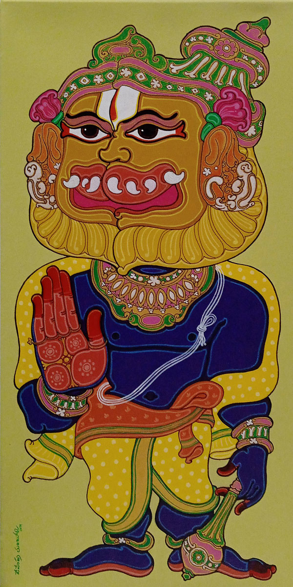 Narasimha Avatar by Devendra Achari, Expressionism Painting, Acrylic on Canvas, Olive color