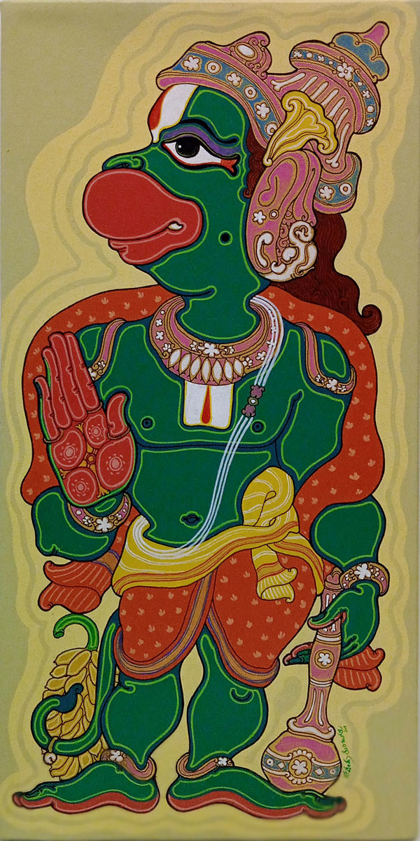 Lord Hanuman by Devendra Achari, Expressionism Painting, Acrylic on Canvas, Olive color