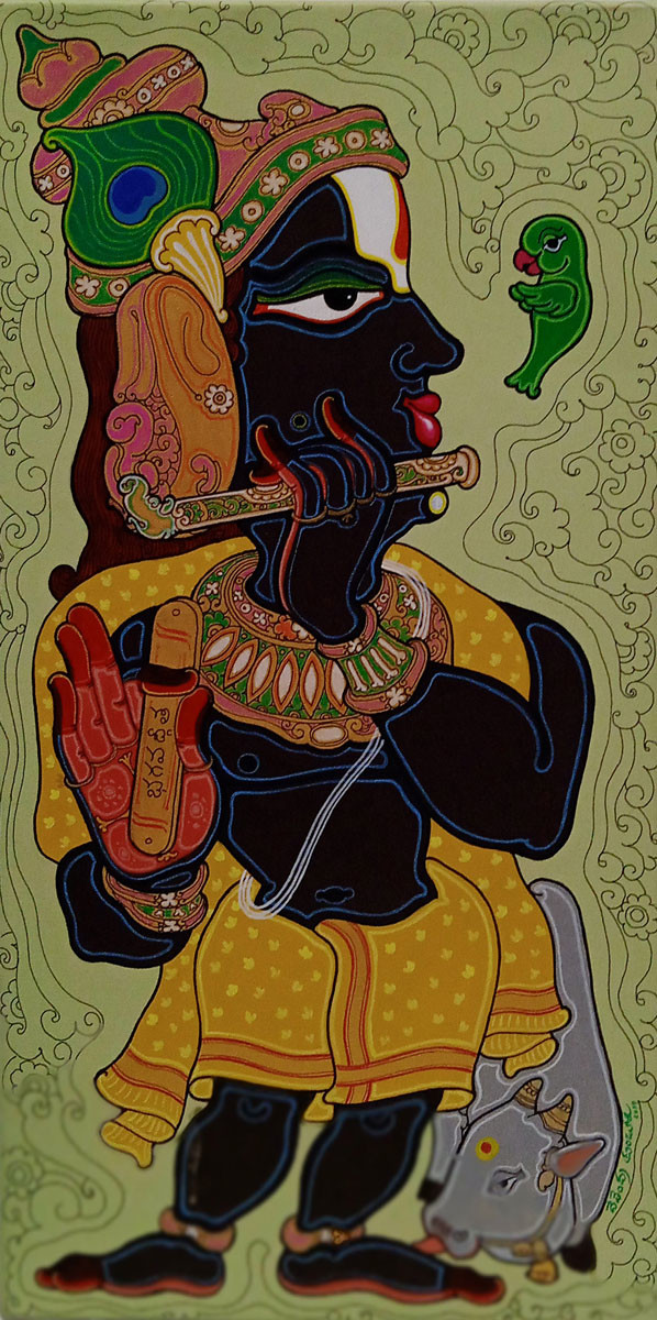 Lord Krishna by Devendra Achari, Expressionism Painting, Acrylic on Canvas, Olive color