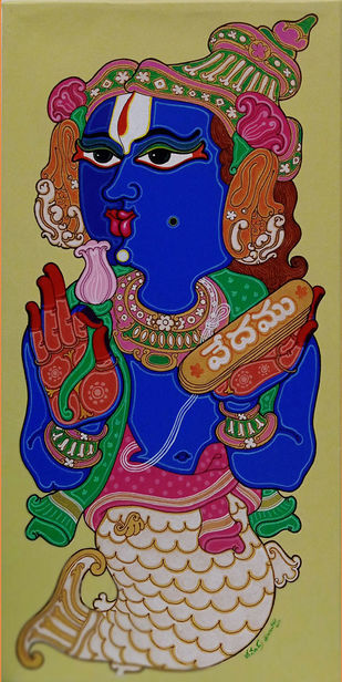 Matsya Avatar by Devendra Achari, Expressionism Painting, Acrylic on Canvas, Olive color
