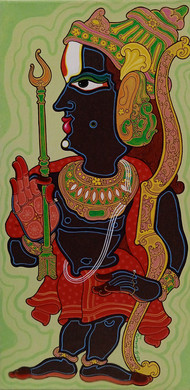 Lord Rama by Devendra Achari, Expressionism Painting, Acrylic on Canvas, Olive color