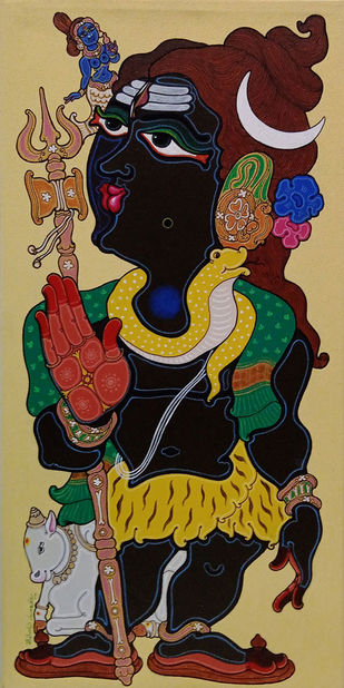 Lord Shiva by Devendra Achari, Expressionism Painting, Acrylic on Canvas, Olive color