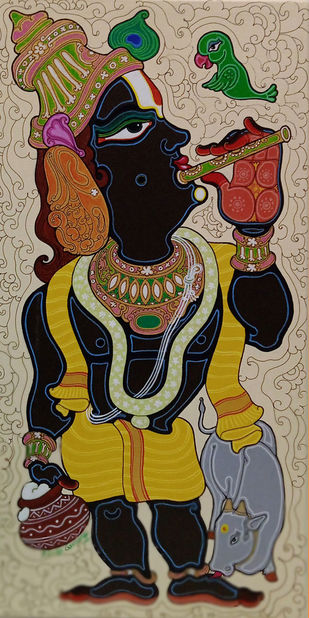 Lord Krishna by Devendra Achari, Expressionism Painting, Acrylic on Canvas, Purple color