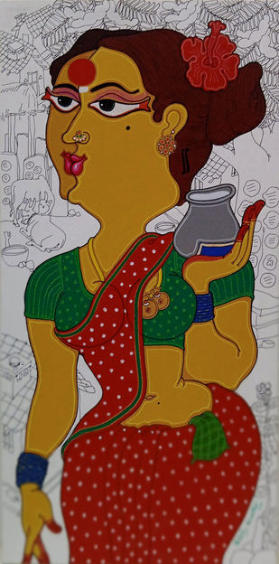 Untitled by Devendra Achari, Expressionism Painting, Acrylic on Canvas, Maroon color