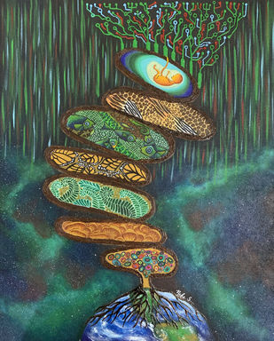 Adbhuta - The Tree of Life. by Neha Singh, Conceptual Painting, Mixed Media on Canvas, Gray color