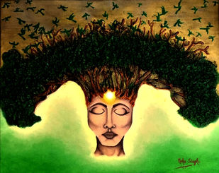 Shanta - Peace of Mind. by Neha Singh, Conceptual Painting, Mixed Media on Canvas, Black color