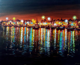 Colorful Night Varanasi Ghats by Samiran Sarkar, Illustration Painting, Acrylic on Canvas, Black color
