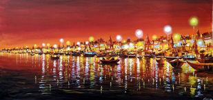 Beauty of Night Varanasi VI by Samiran Sarkar, Illustration Painting, Acrylic on Canvas, Orange color