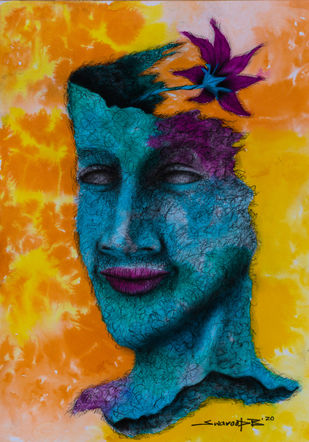 Alive by Swaroop Biswas, Illustration Painting, Watercolor and charcoal on paper, Olive color