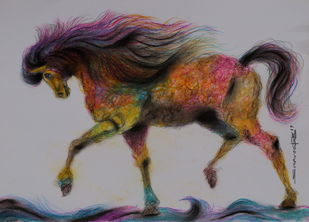 Unicorn by Swaroop Biswas, Illustration Painting, Watercolor and charcoal on paper, Silver color