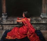 mayuri by Shweta Rukme, Realism Painting, Acrylic on Canvas, Black color