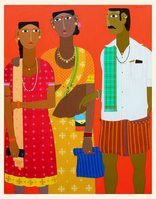 telangana family by Kandi Narsimlu, Expressionism Painting, Acrylic on Canvas, Maroon color