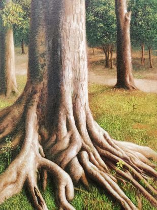 Holding Strong by Arabinda Mukherjee, Realism Painting, Oil on Canvas, Gray color