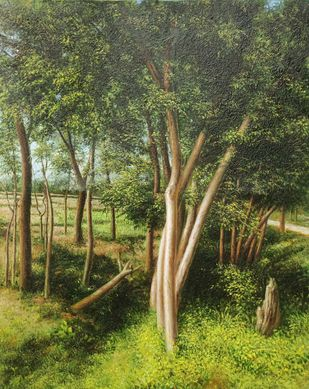 Miles To Go by Arabinda Mukherjee, Realism Painting, Oil on Canvas, Olive color