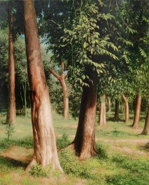 Standing High by Arabinda Mukherjee, Realism Painting, Oil on Canvas, Olive color