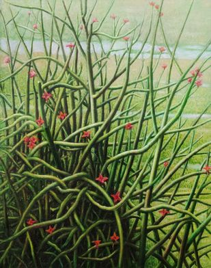 Cactus by Arabinda Mukherjee, Realism Painting, Oil on Canvas, Olive color