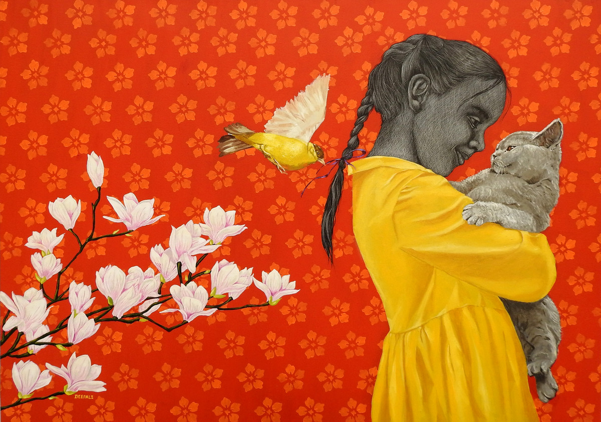 Cat with Girl by Deepali S, Expressionism Painting, Oil and acrylic on Canvas, Orange color