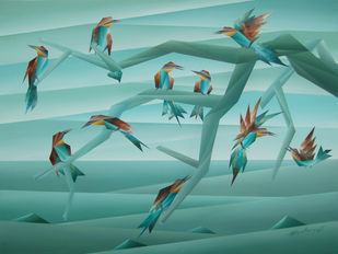 Aspect of Life by Nirakar Chowdhury, Abstract Painting, Acrylic on Canvas, Teal color
