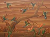 Multi Skilled by Nirakar Chowdhury, Cubism Painting, Acrylic on Canvas, Orange color
