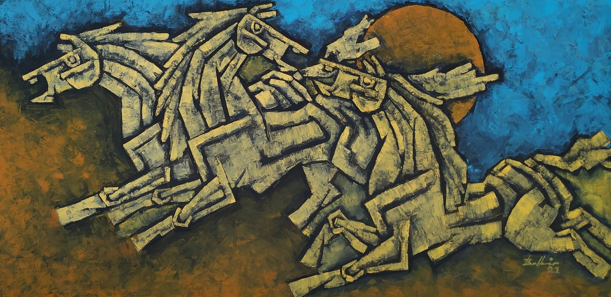 Race 6 by Balbir Singh, Cubism, Illustration Painting, Acrylic on Canvas, Gray color