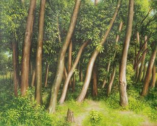 Forest by Arabinda Mukherjee, Realism Painting, Oil on Canvas, Olive color