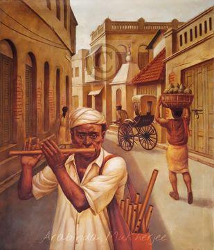 Flute Player by Arabinda Mukherjee, Realism Painting, Oil on Canvas, Orange color