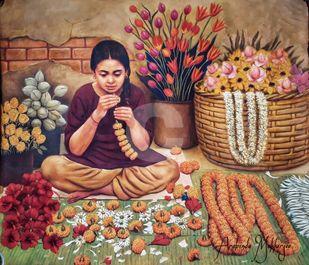Flower Girl by Arabinda Mukherjee, Realism Painting, Oil on Canvas, Olive color