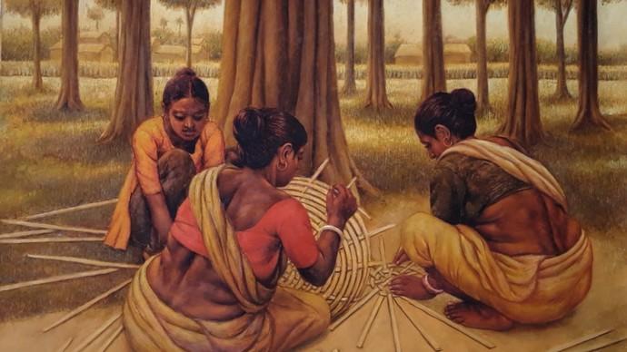 Basket Maker by Arabinda Mukherjee, Realism Painting, Oil on Canvas, Orange color