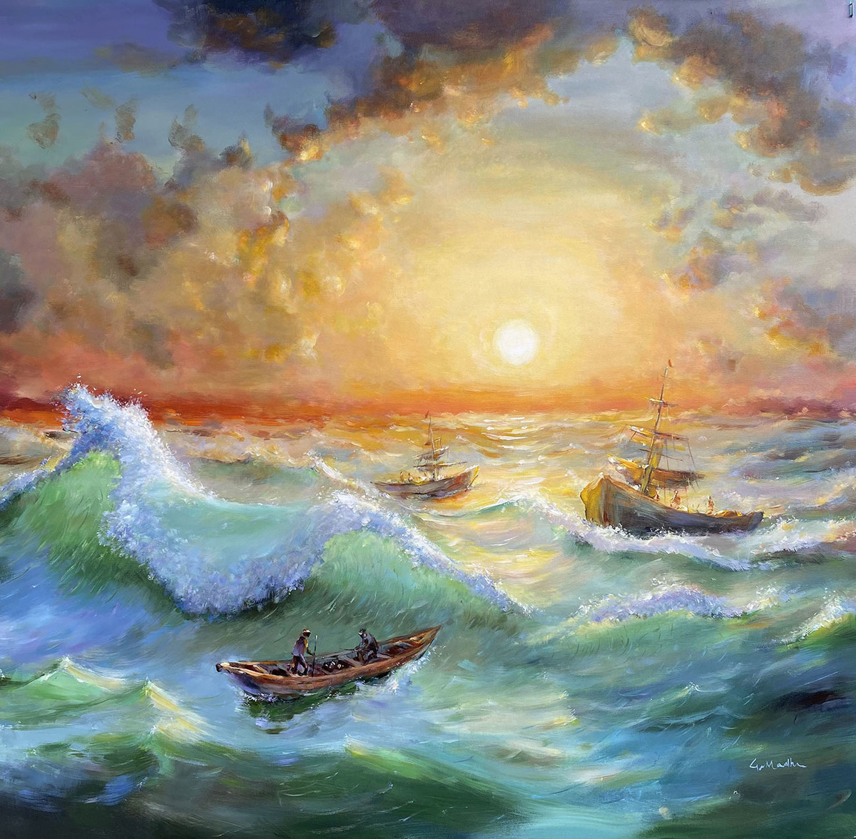 ''Sunset in a Stormy Ocean'' by GN Madhu, Realism Painting, Acrylic on Canvas, Gray color