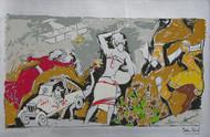 Yeh kaun sa modh hai umar ka - IV by M F Husain, Printmaking, Serigraph on Paper, Gray color