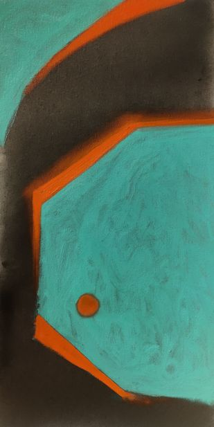 Untitled 4 by Sanket Sagare, Abstract Painting, Acrylic on Canvas, Teal color