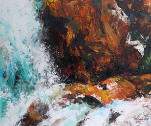 Abstract Waterfall by Muralidhar Suvarna, Abstract Painting, Acrylic on Canvas, Gray color