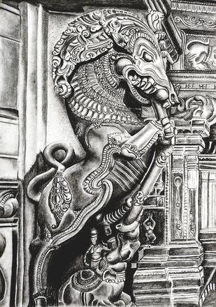 Yazhi by vanavil venkat, Realism Drawing, Pencil on Paper, Silver color