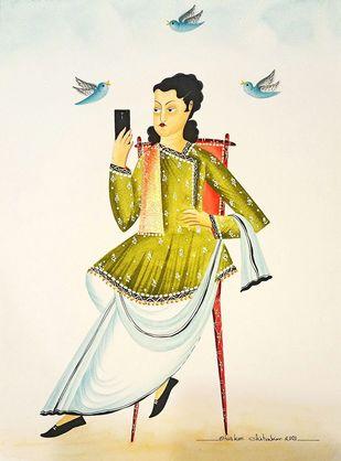 Babu on Twitter by Bhaskar Chitrakar, Folk Painting, Natural colours on paper, Lime color