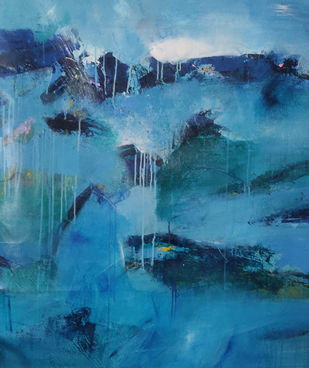 Blue waters from heaven by Neena Singh, Abstract Painting, Acrylic on Canvas, Teal color
