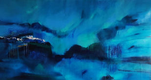 Hymn of optimism by Neena Singh, Abstract Painting, Acrylic on Canvas, Teal color