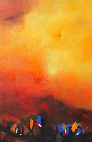Title The Pilgrimage by Neena Singh, Abstract Painting, Acrylic on Canvas, Orange color